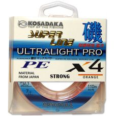 "Леска плетен. Kosadaka ""SUPER LINE PE X4 Ultralight PRO"" 110м, цв. orange, 0,10мм, 5,7кг"