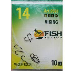 Крючки Fish Season VIKING №14 с ушком, 9 шт.